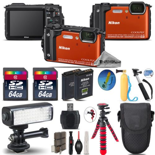Nikon COOLPIX W300 Waterproof Camera  Extra Battery   Video Light Kit - 128GB