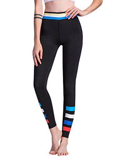 db278d3b08 Nikibiki Women Stretchy High Waist Colorblock Stripe Leggings Yoga Pants  Workout Pant