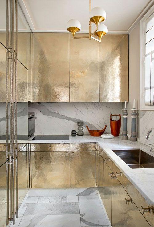 gold cabinet kitchen. wow.