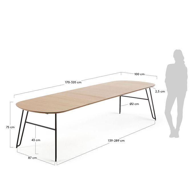 Table Extensible Novac 170 320 X100 Cm Kave Home Table Ovale Mobilier De Salon Table Extensible