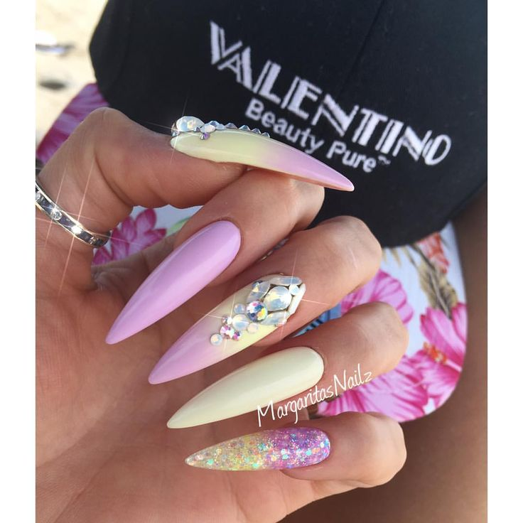 Summer stiletto nails Pastel yellow and lavender 2016 nail art