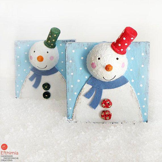 Snowman Decoration Cute Snowman Decor Paper Mache Snowman