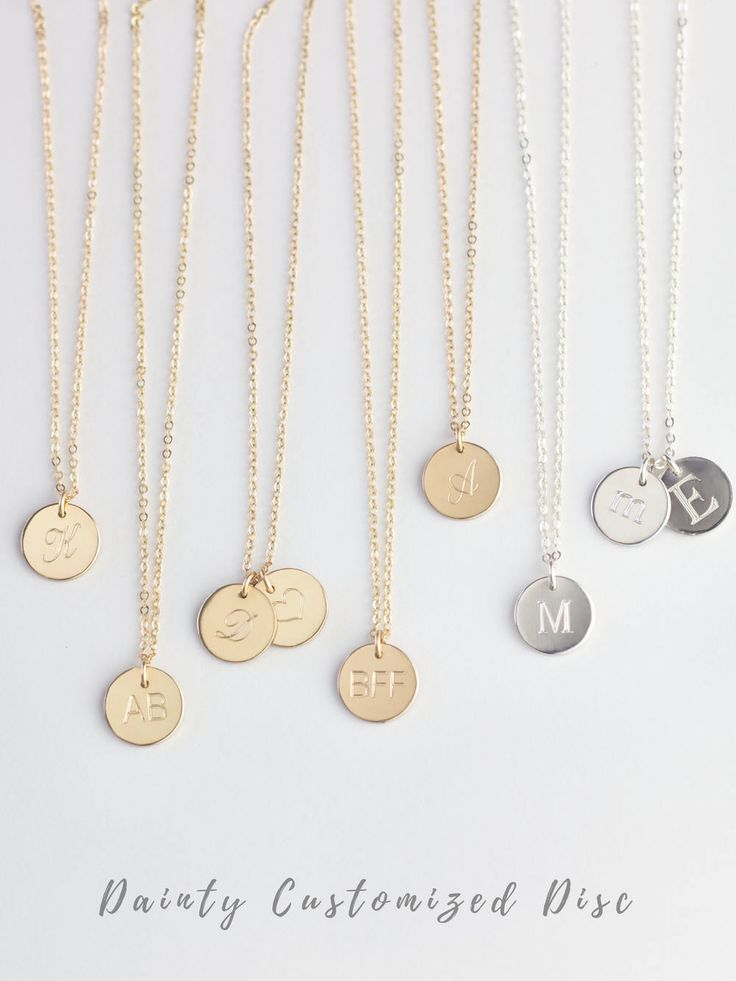 """18"""" chain Font 3  Initial Pendant, Gold Initial Necklace, Sterling Silver Initial Necklace, Initial Disc Necklace, Gold Engraved Necklace, Gold Disc Necklace by MondayMonarch on Etsy https://www.etsy.com/listing/487960039/initial-pendant-gold-initial-necklace"""
