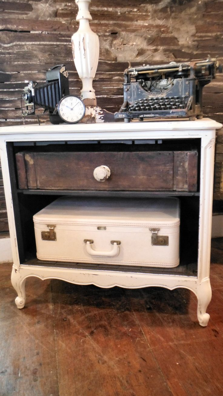 Repurposed Vintage Radio Cabinet   Now Romantic/french/urban/industrial  Style Nightstand,