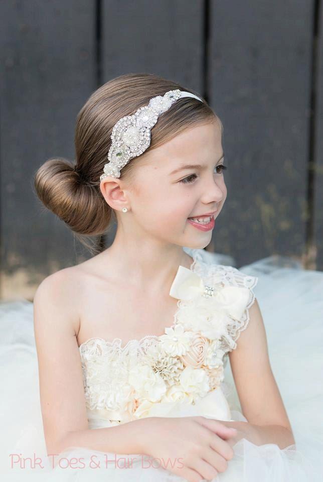 Flower Girl Headband Rhinestone Headband Bridal by Pizzazzies