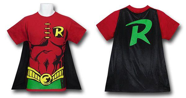 kids+robin+shirt+with+cape | Superman, Batman, and Robin Caped Costume Shirts