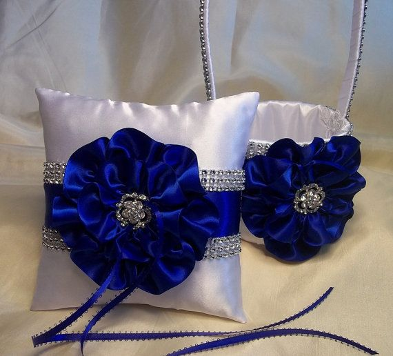 White Flower Girl Basket and matching Ring Bearer Pillow with Royal ...