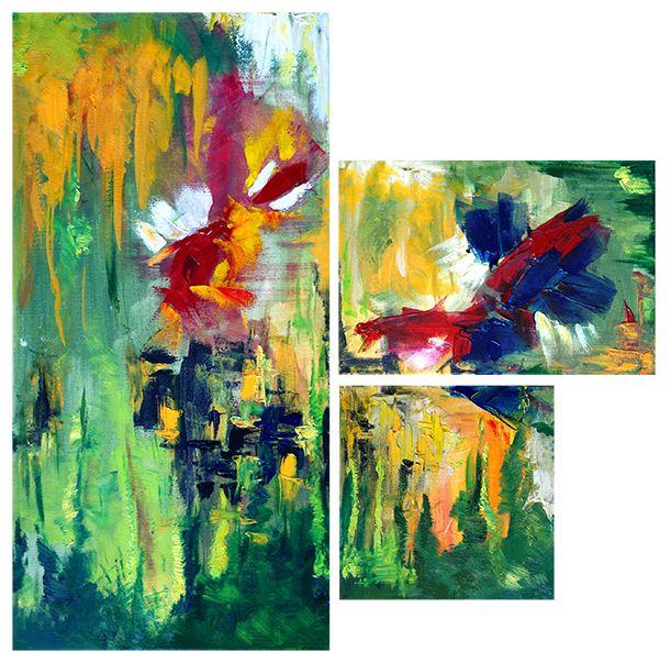 """obraz olejny na płótnie abstrakcja """"podwodny świat"""""""