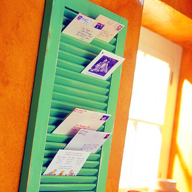 DIY mail holder from window shutter