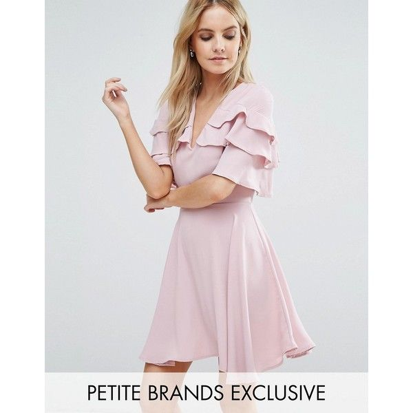 John Zack Petite Ruffle Shoulder Mini Tea Dress (425 DKK) ❤ liked on Polyvore featuring dresses, petite, pink, pink frilly dress, tiered ruffle dress, fit and flare dress, petite dresses and pink fit-and-flare dresses