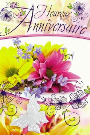E16 03 38 - Carte Anniversaire Femme Bouquet de Fleurs