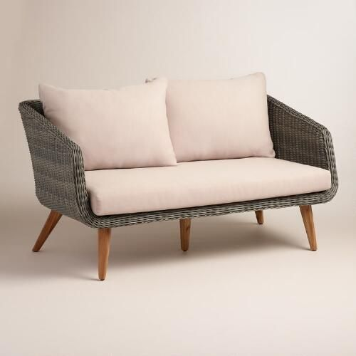 One of my favorite discoveries at WorldMarket.com: Gray All Weather Wicker Minorca Bench