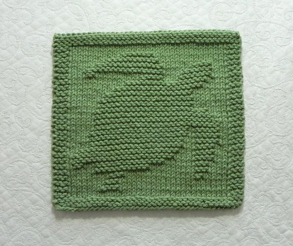 SEA TURTLE Knit Dishcloth or Wash Cloth, Sage Green, Hand Knitted Unique Design - 100% Cotton ~ Handmade Seaside Decor, Nature Lover Gift