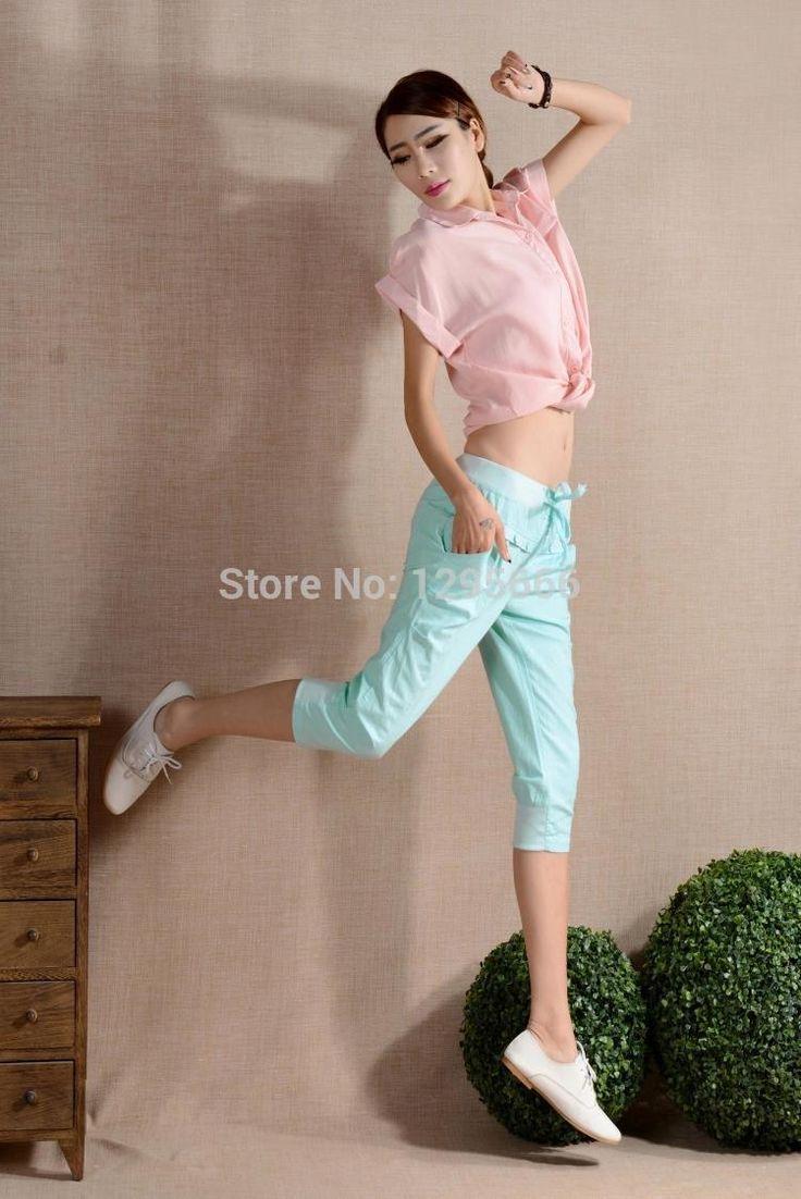 Купить товар3 цвета женщины в конфеты цвета капри брюки свободного покроя высокая прорезиненная тесьма шаровары брюки карандаш приталенный капри леггинсы в категории Брюки и каприна AliExpress.