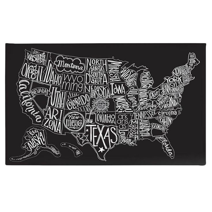 Cool black and white US map wall art!