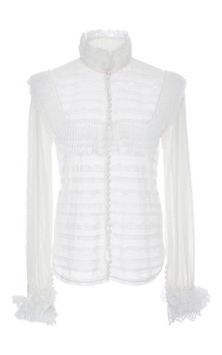 French Lace Tulle Shirt by COSTARELLOS for Preorder on Moda Operandi