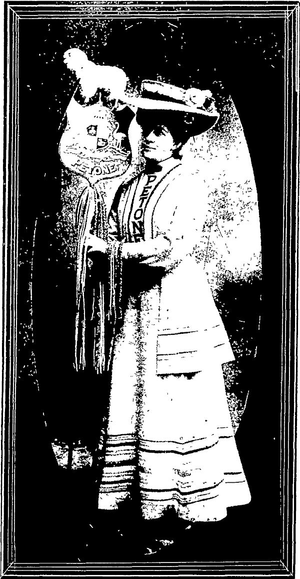 "MISS M. MACKINTOSH AS "" PETONE WOOLLEN MILLS"" In Poster March at the Bazaar held in Wellington in aid of Home for Consumptives.   Free Lance, Volume 12 August 1905, Page 14"