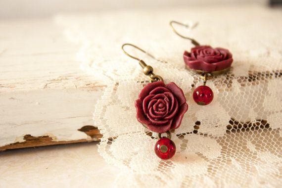 Elegant Red Earrings Burgundy Flat Resin by BeautyfromashesUSA