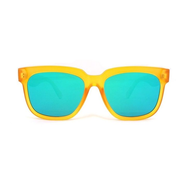 AYF Vintage Retro Sunglasses Oversize Square Yellow Frame Green Mirror Lens #AYF #Square