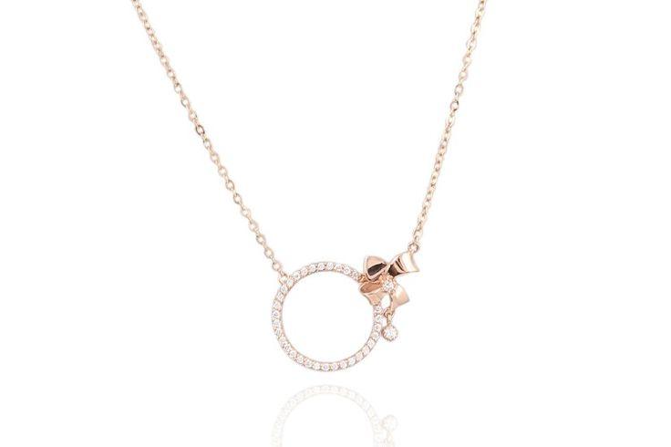 14k gold circle cz necklace