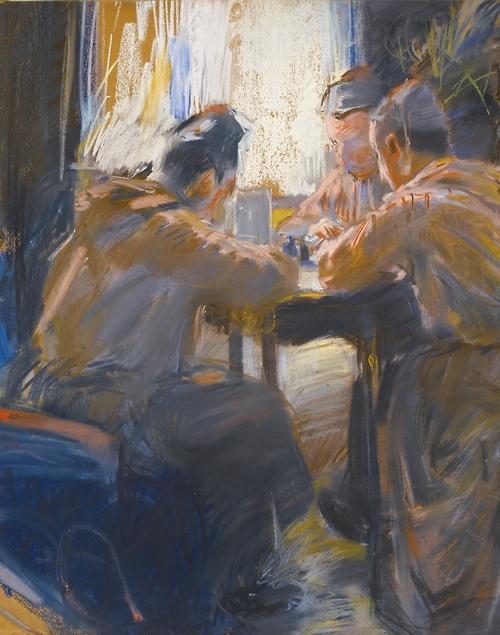 Akseli Gallen-Kallela (Finnish, 1865-1931), The Cardplayers. Pastel on paper