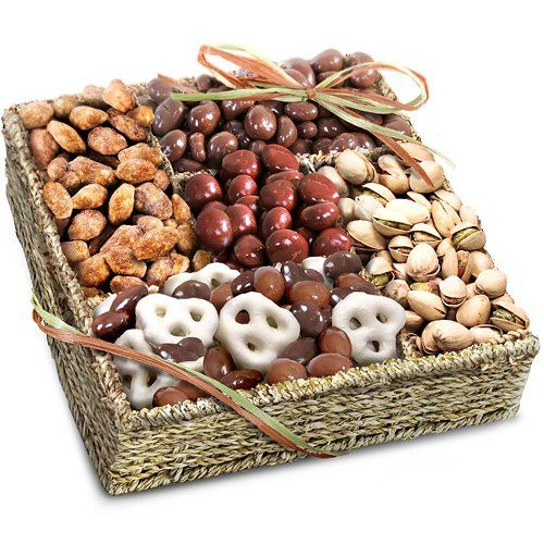 Mendocino Organic Chocolate and Nuts Gift Basket - http://goodvibeorganics.com/mendocino-organic-chocolate-and-nuts-gift-basket/