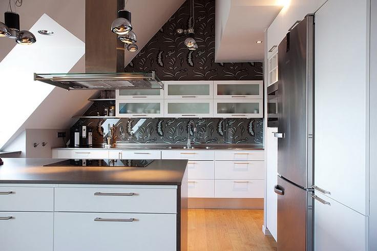 Nice wallpaper as kitchen backsplash and wall decor