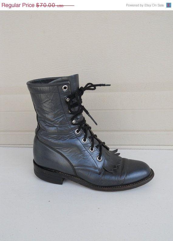 1970s JUSTIN Roper Boots . Granny Boots .