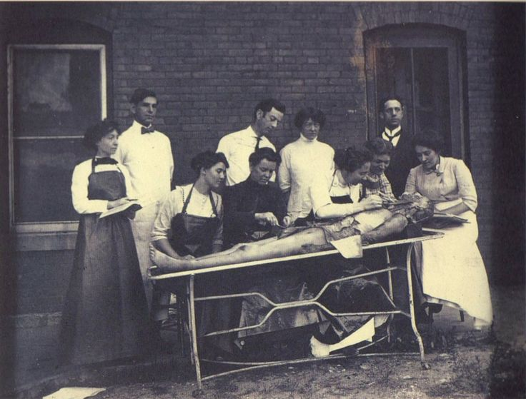 ca. 1895, Portrait of female medical students performing a dissection - via A Morning's Work: Medical Photographs from the Burns Archive, Stanley B. Burns