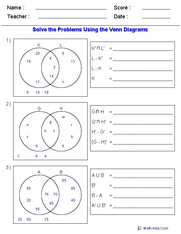 Venn Diagram Worksheets - Set Notation Problems Using Two Sets