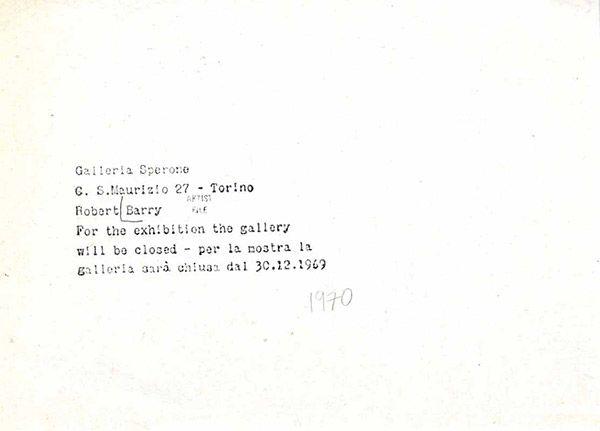Robert Barry, 1969