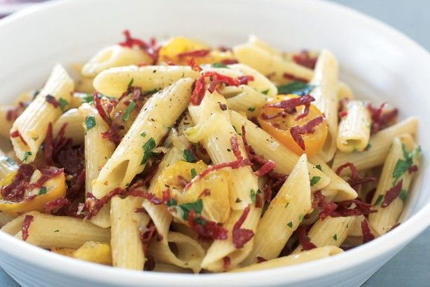 In less than 20 minutes, you can have this great-tasting pasta on the table, ready for the hungry troops to enjoy.