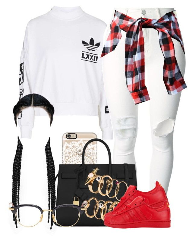 """""""Sans titre #570"""" by jilwayne on Polyvore featuring mode, adidas, Casetify, (+) PEOPLE, Yves Saint Laurent, H&M et Thom Browne"""