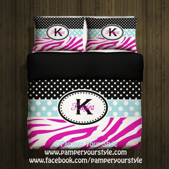Teen Bedroom Polka Dot and Zebra Bedding with 2 Matching Shams -  Personalize with Name or Monogram - Pick Your Color and Size - Create My Own Bedding on Etsy, $139.00