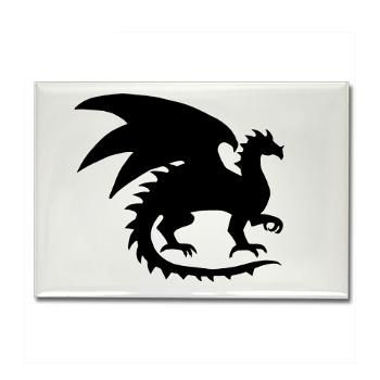 Dragon Silhouette Rectangle Magnet