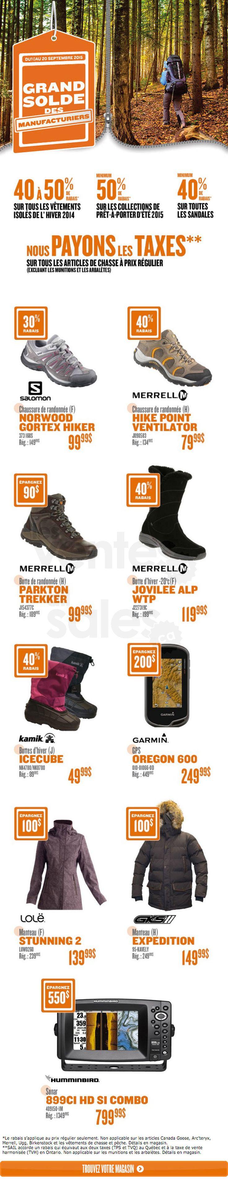 Du 10 au 20 septembre, jusqu'à -50% sur des items sélectionnés tels que chaussures et bottes Merrell, bottes Kamik, GPS Garmin, manteaux Lolë et plus. Économisez l'équivalent des taxes sur tous les articles de chasse à prix régulier*.