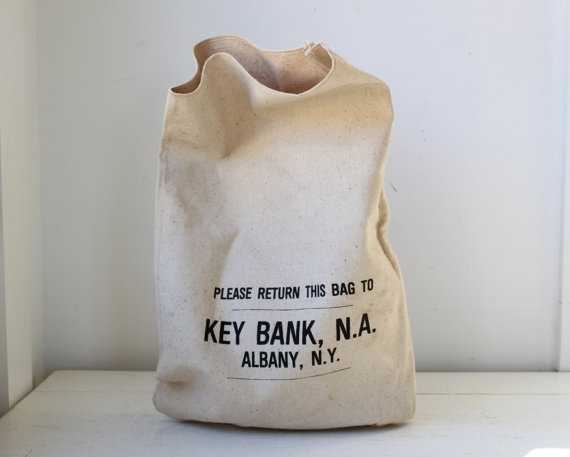 1970s vintage money bag from Key Bank in Albany, NY