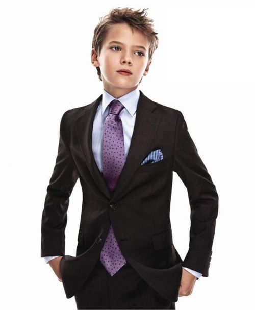 Cool kid suit -- blue shirt, purple tie