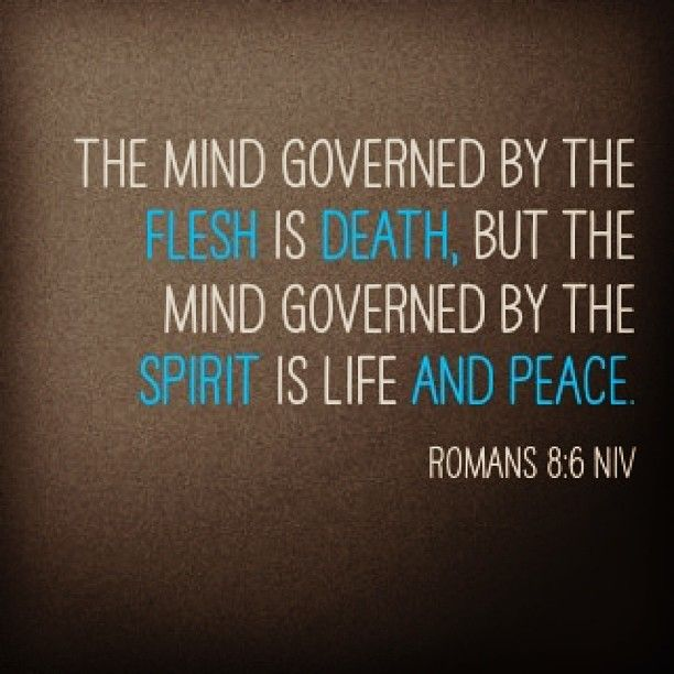 The mind governed by the flesh is death, but the mind governed by the Spirit is life and peace. (Romans 8:6 NIV). #God #WordofGod #Word #bible #scripture #Dios #biblia #Dieu #Jesus #JesusCristo #church #supernatural #authority #power #deus