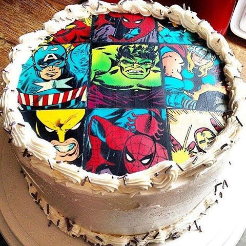SUPERHERO edible image cake and cupcake toppers by FondantFairy
