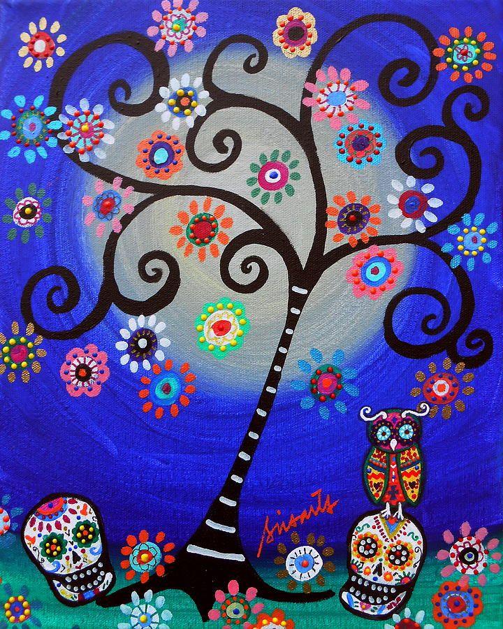 Dia De Los Muertos Owl Painting by Pristine Cartera Turkus