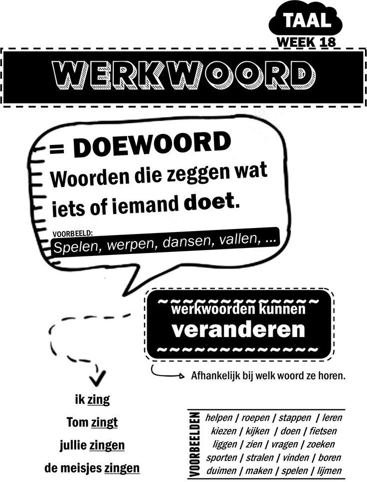 afbeelding : poster werkwoorden