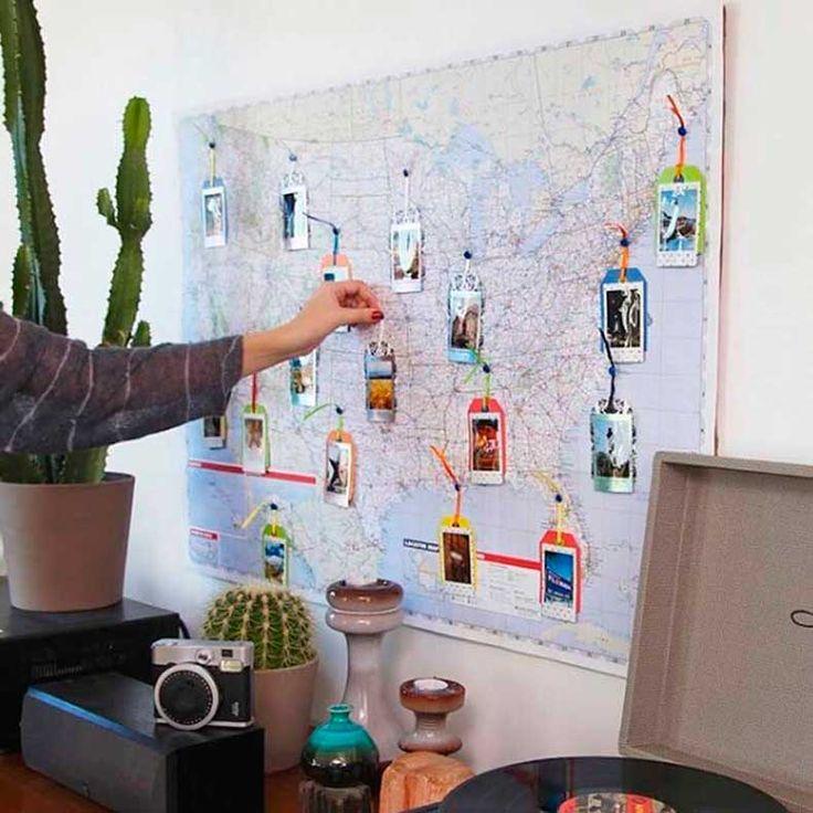 Mapa mundi en la pared con fotos de los lugares visitados living comedor ideas decoraci n - Ideas para poner fotos ...
