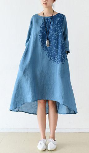 Blue bracelet sleeve linen dresses maternity dress oversized lined