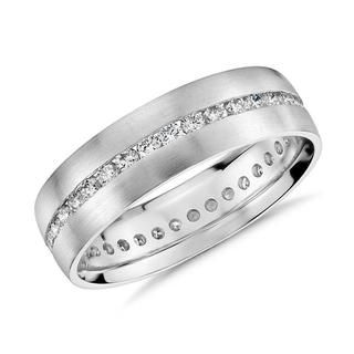 Channel-Set Diamond Wedding Ring iN 9k White Gold(0.35ct tw)6mm