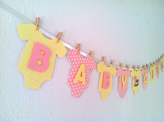 Onesie BABY GIRL Baby Shower Banner Pink Lemonade by BubblyNewYork, $31.95