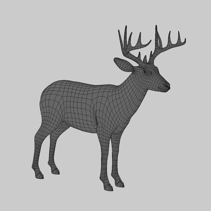 deer white 3d model