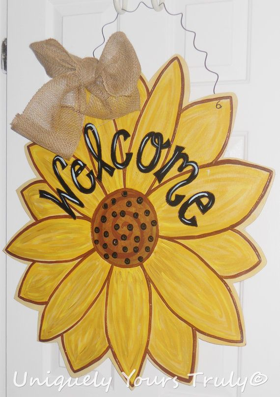 Wooden Sunflower door hanger, door sign, welcome, summmer ...