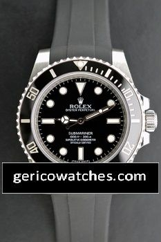 Gerico National/Rolex/Breitling/AudemarsPiguet - Pre-Owned Rolex Submariner with black Rubber B strap, $6,750.00 (http://stores.gericowatches.com/pre-owned-rolex-submariner-with-black-rubber-b-strap/)