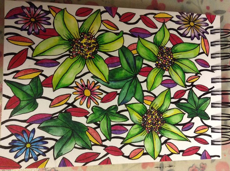 Watercolour marker flower design
